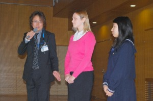 宍戸国際交流部部長、Draffin先生、高校3年生のニュージーランド留学経験者