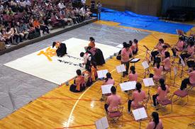 吹奏楽部と書道部のコラボレーション