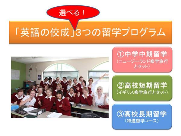3つの留学プログラム