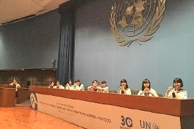 ILOの国際会議場にて
