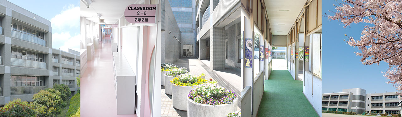 左から佼成学園外観、校内のピンクの廊下、色とりどりの花が植えられたエントランス付近、ステンドガラスが美しい渡り廊下、桜の花とグラウンドから見た校舎